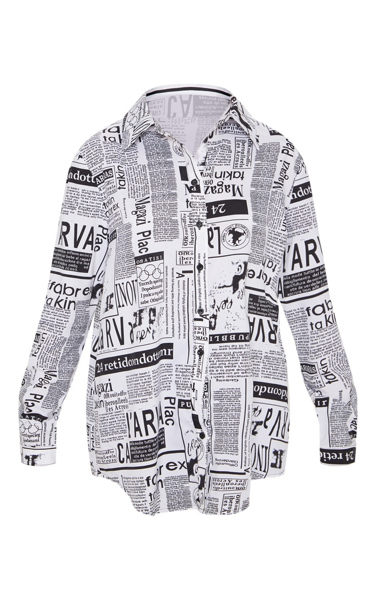 Mono Newspaper Print Oversized Shirt 3