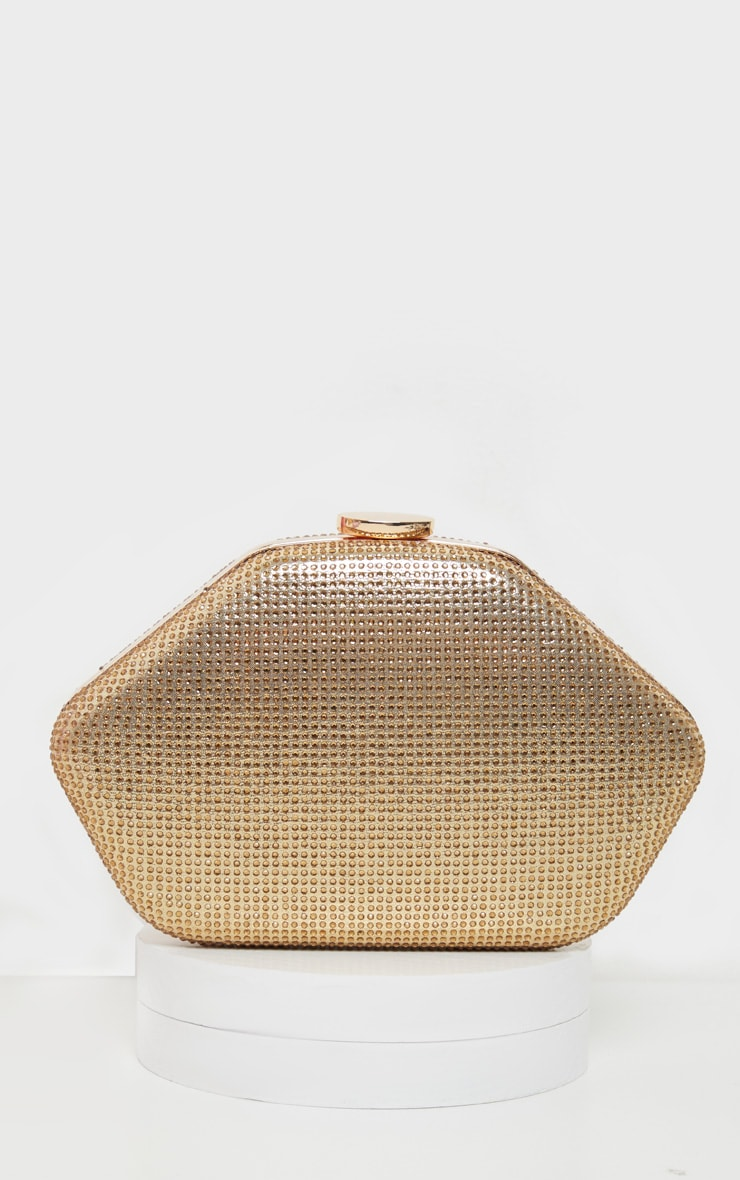 Gold Diamante Angular Clutch Bag      4