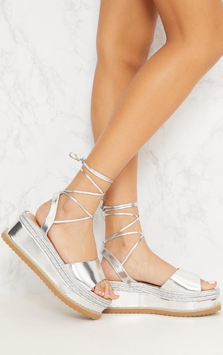 Sandales espadrilles argentées à talon plateforme 1