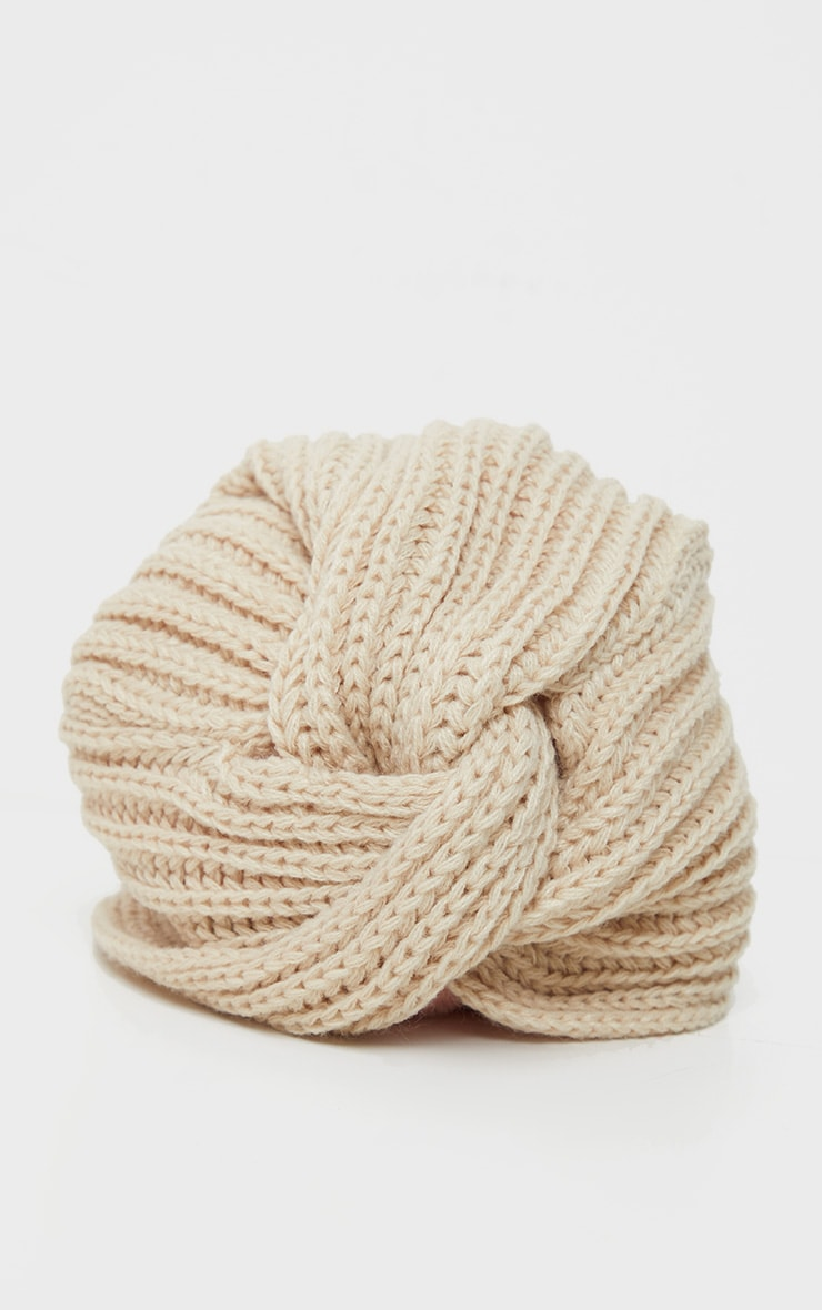 Cream Knitted Knot Turban 4