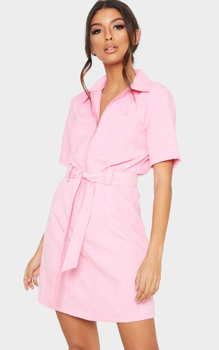 Pink Cord Zip Front Tie Waist Shirt Dress 1