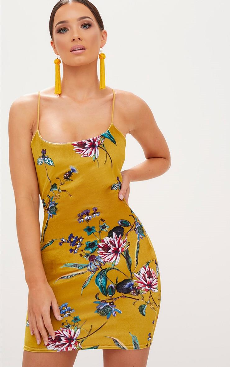 Mustard Floral Velvet Square Neck Spaghetti Strap  Bodycon Dress 1