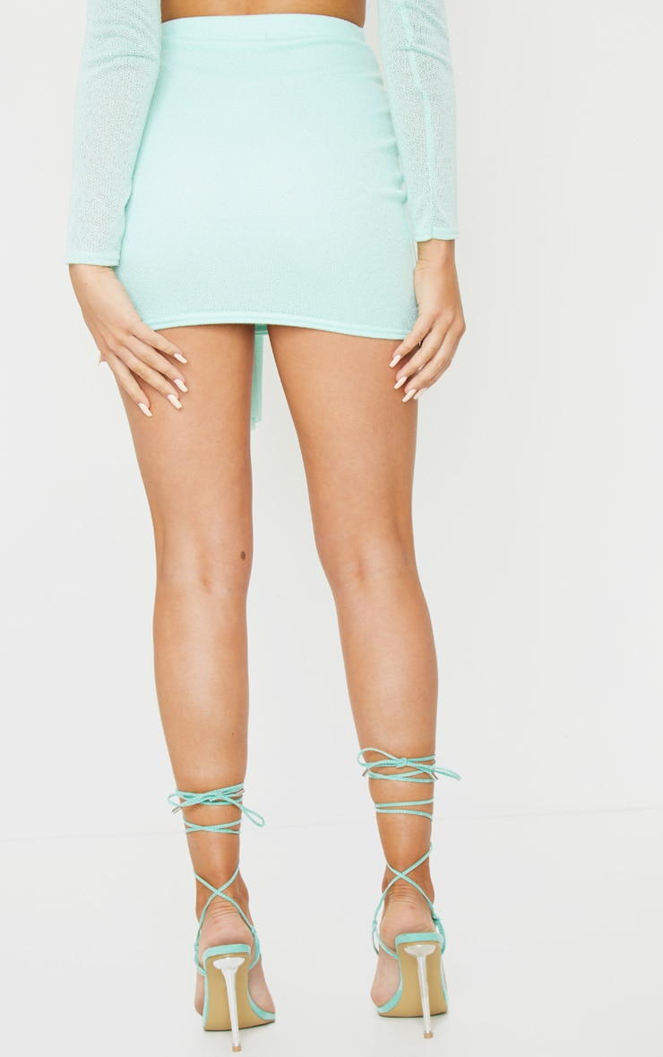 Mint Lightweight Knit Tie Front Mini Skirt 3