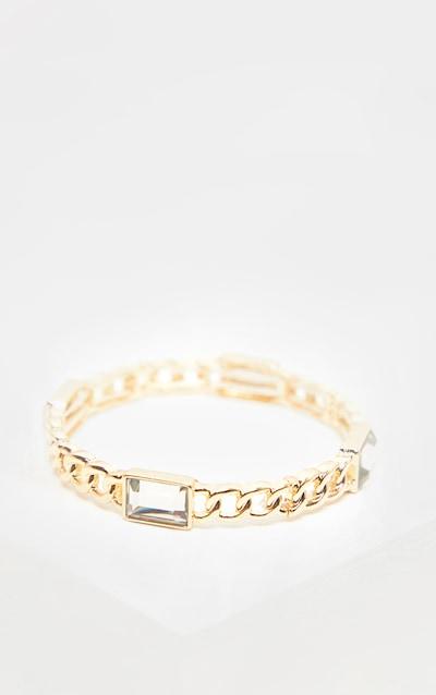 Gold Crystal Stone Chain Bangle