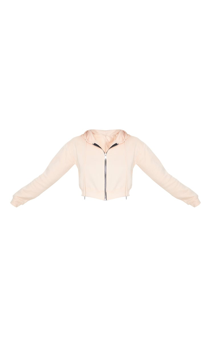 Blush Crop Zip Long Sleeve Hoodie 3