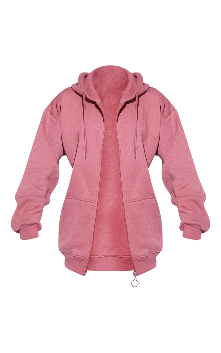 RENEW PRETTYLITTLETHING Washed Red Oversized Zip Through Hoodie 5