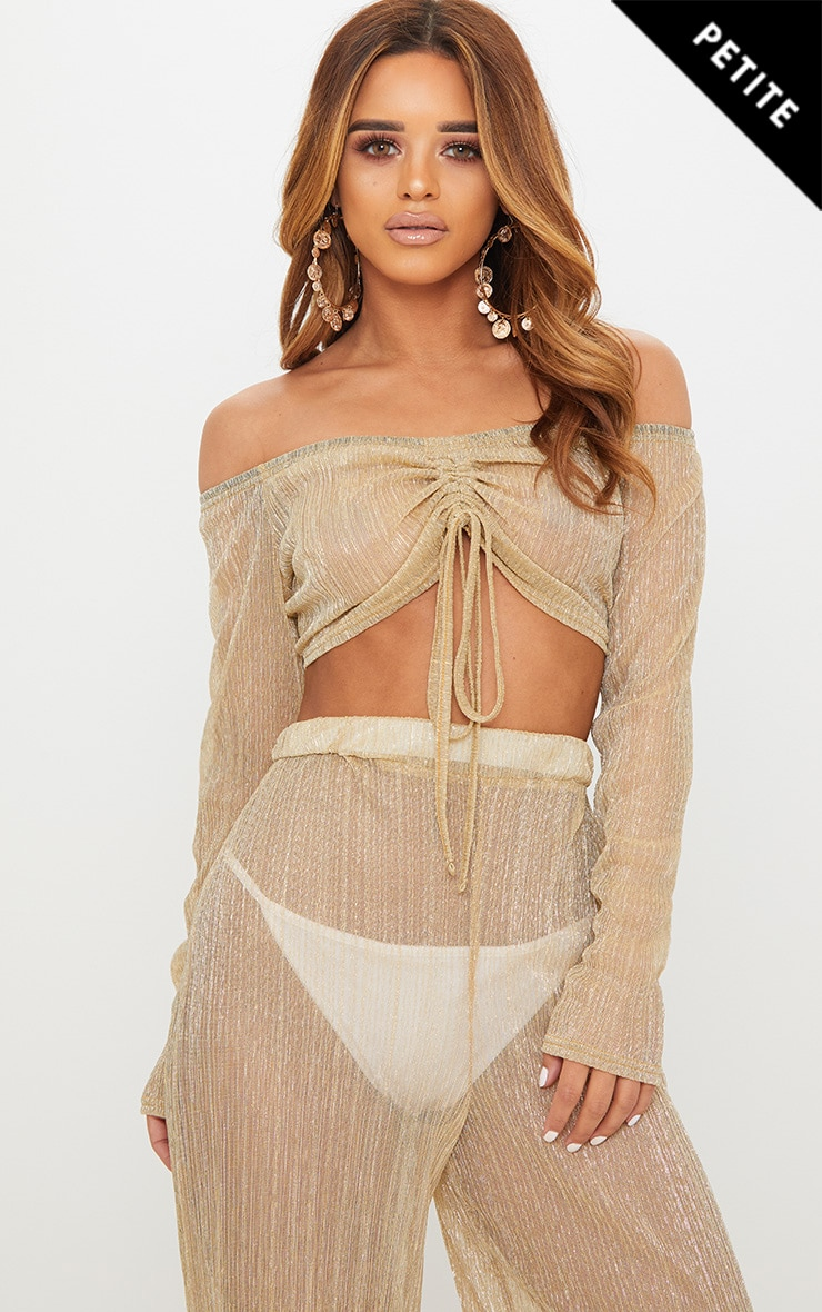 Petite Gold Metallic Pleated Mesh Bardot Crop Top