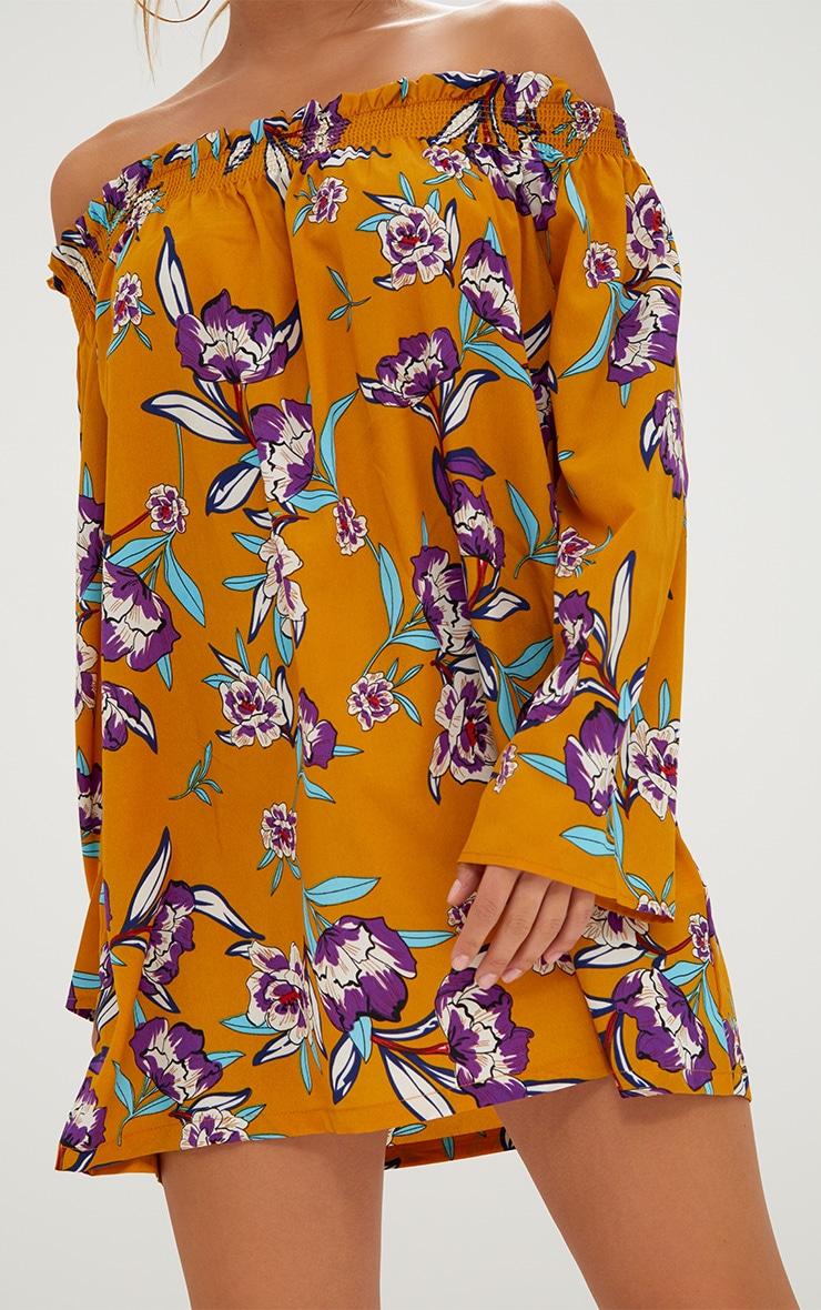 Mustard Floral Printed Bardot Dress 5