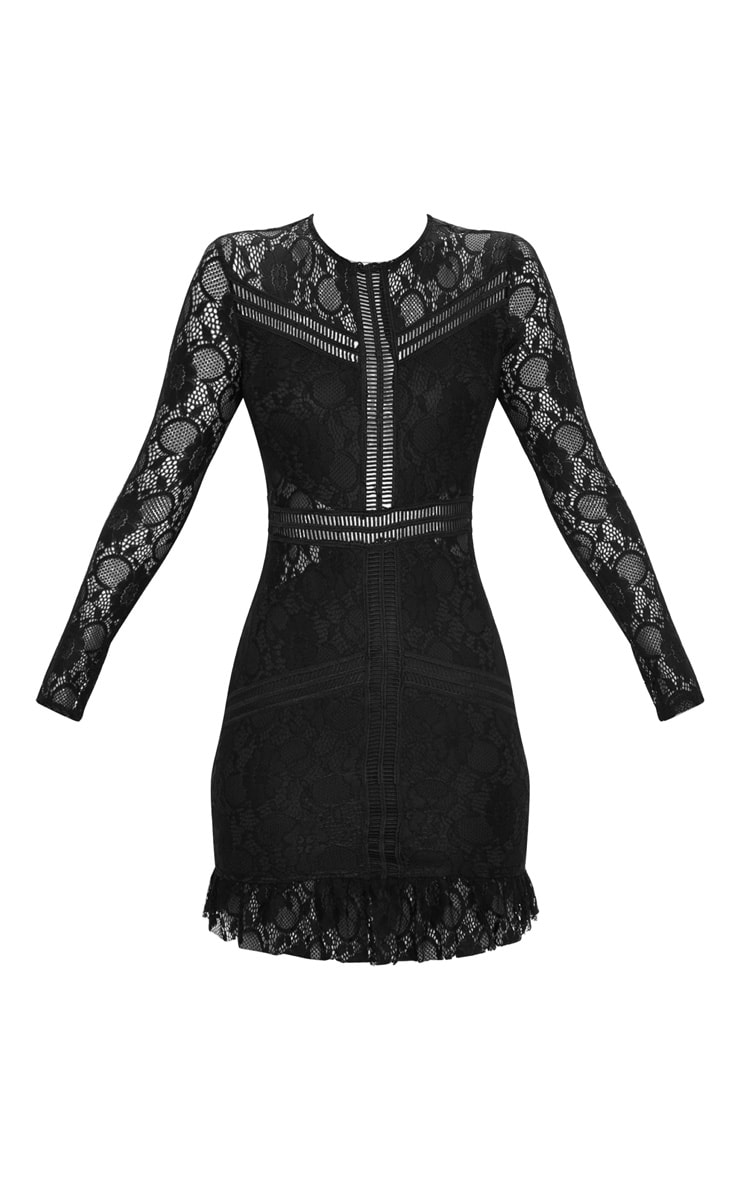 Black Lace Ladder Detail Frill Hem Bodycon Dress 1