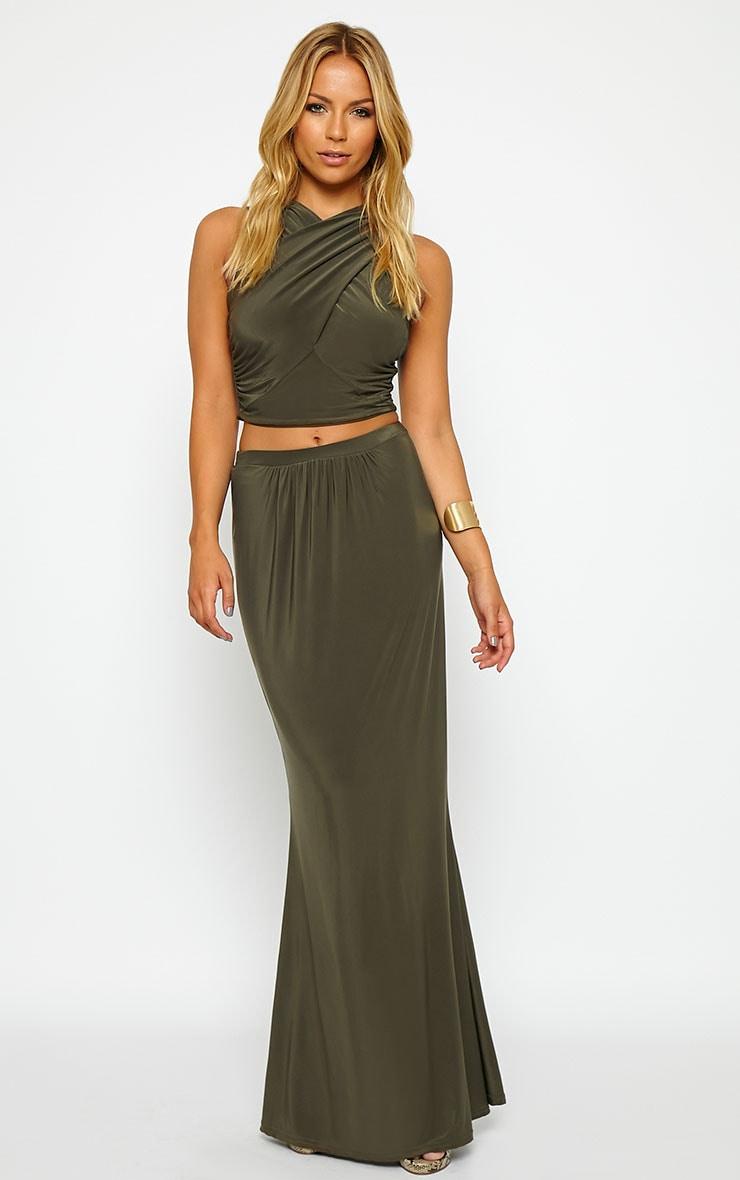 Dalia Khaki Maxi Skirt 1