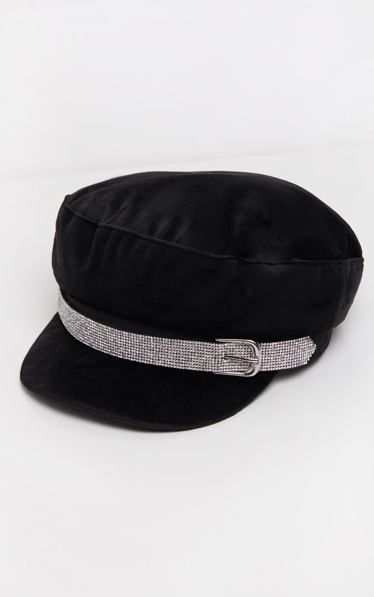 Black Diamante Buckle Baker Boy Hat 2