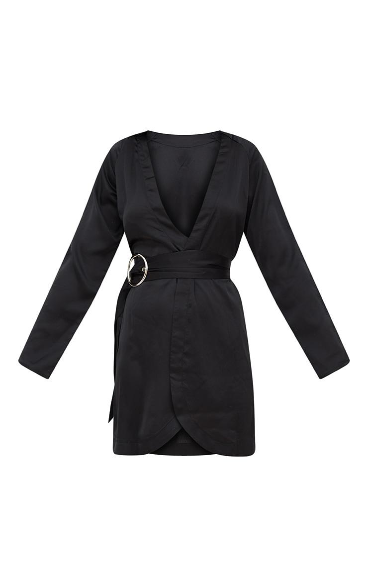 Black Satin Belted Shirt Dress 3