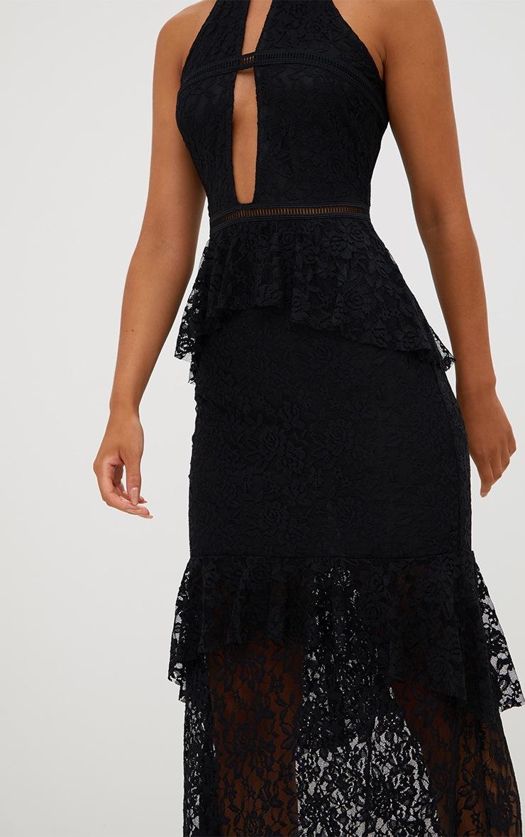 Black Lace Ruffle Detail Plunge Maxi Dress 5