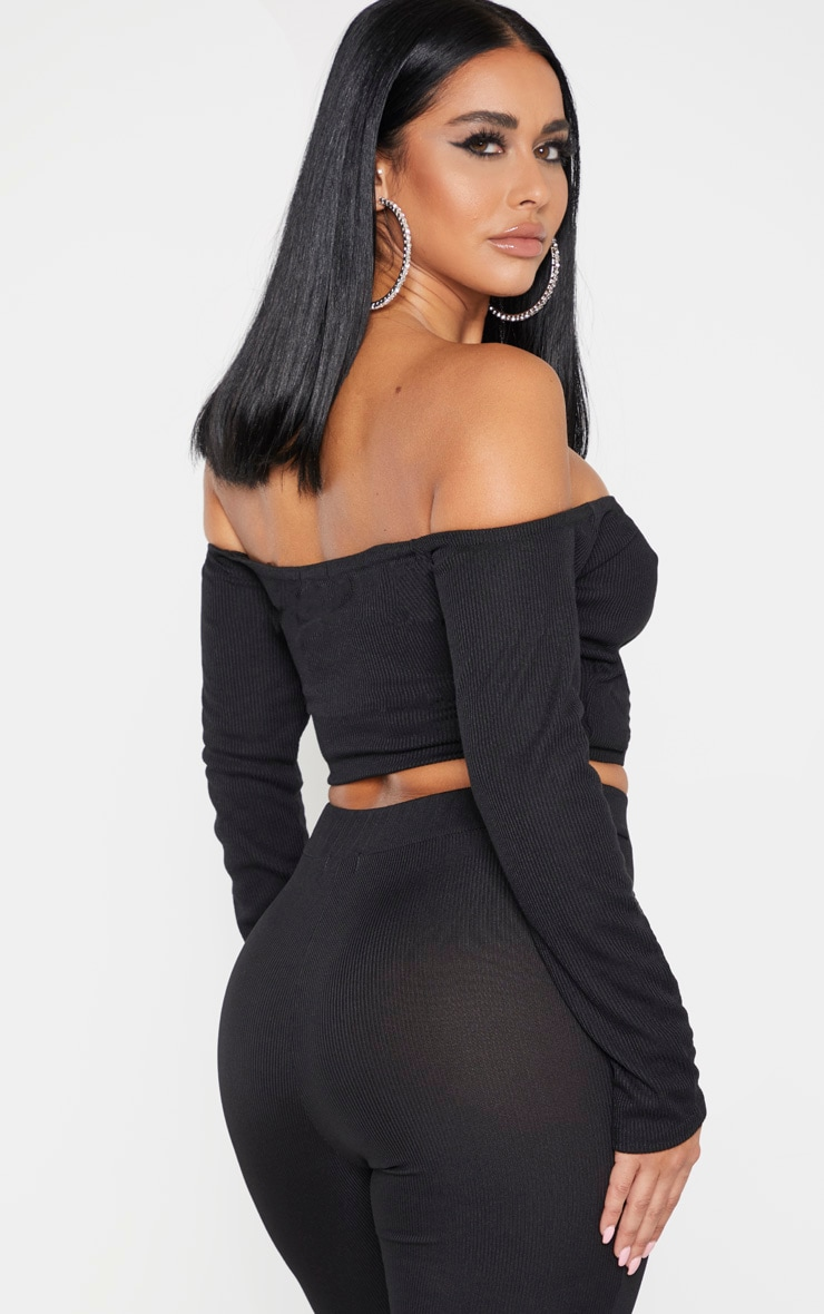 Shape Black Fuller Bust Wrap Bardot Ribbed Crop Top 2