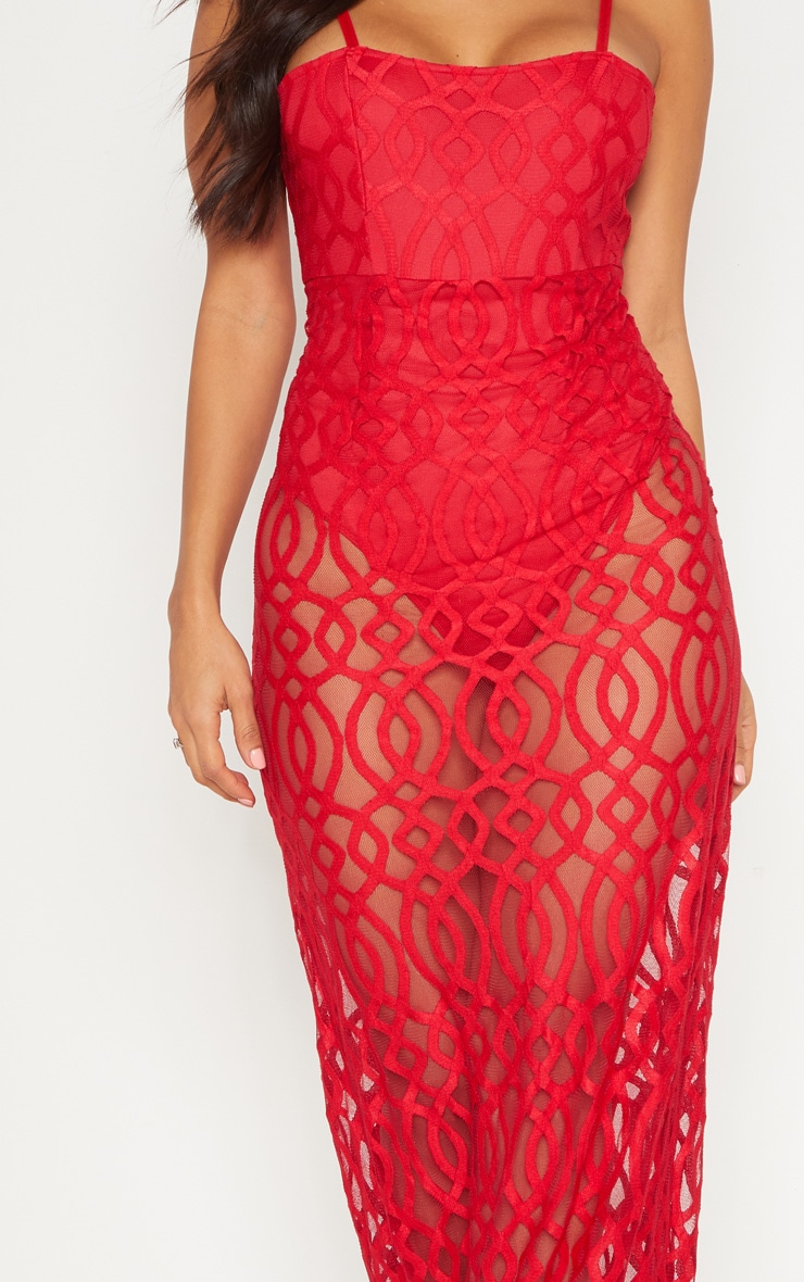 Red Lace Square Neck Maxi Dress 4