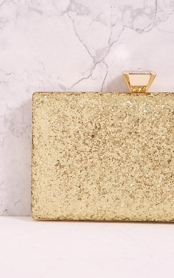 Dinnie Gold Glitter Box Clutch Bag 5