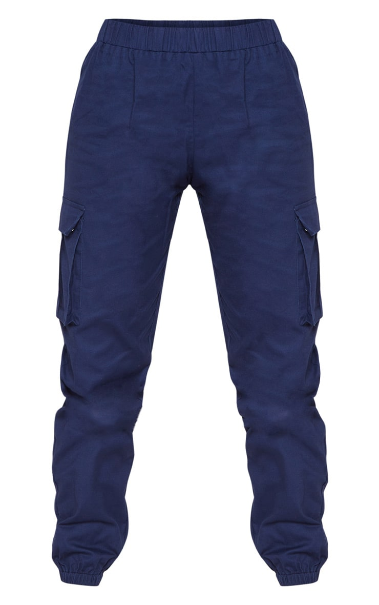 Petite Navy Pocket Detail Cargo Trousers 3