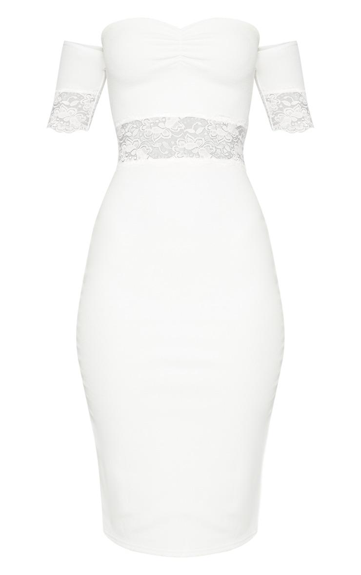 White Lace Trim Bardot Midi Dress 3