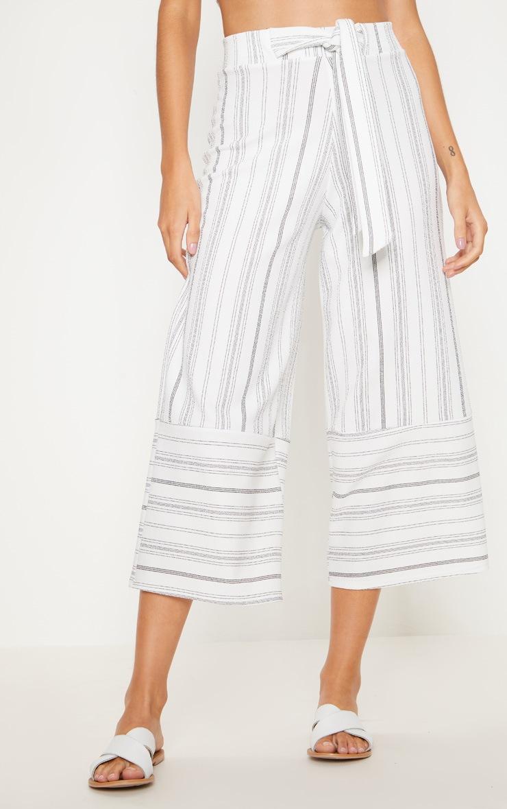 White Stripe Crepe Contrast Panel Culottes 2