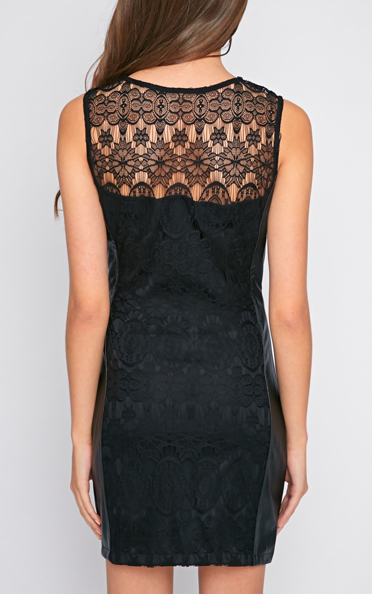 Annora Black Lace & Leather Bodycon Dress  2