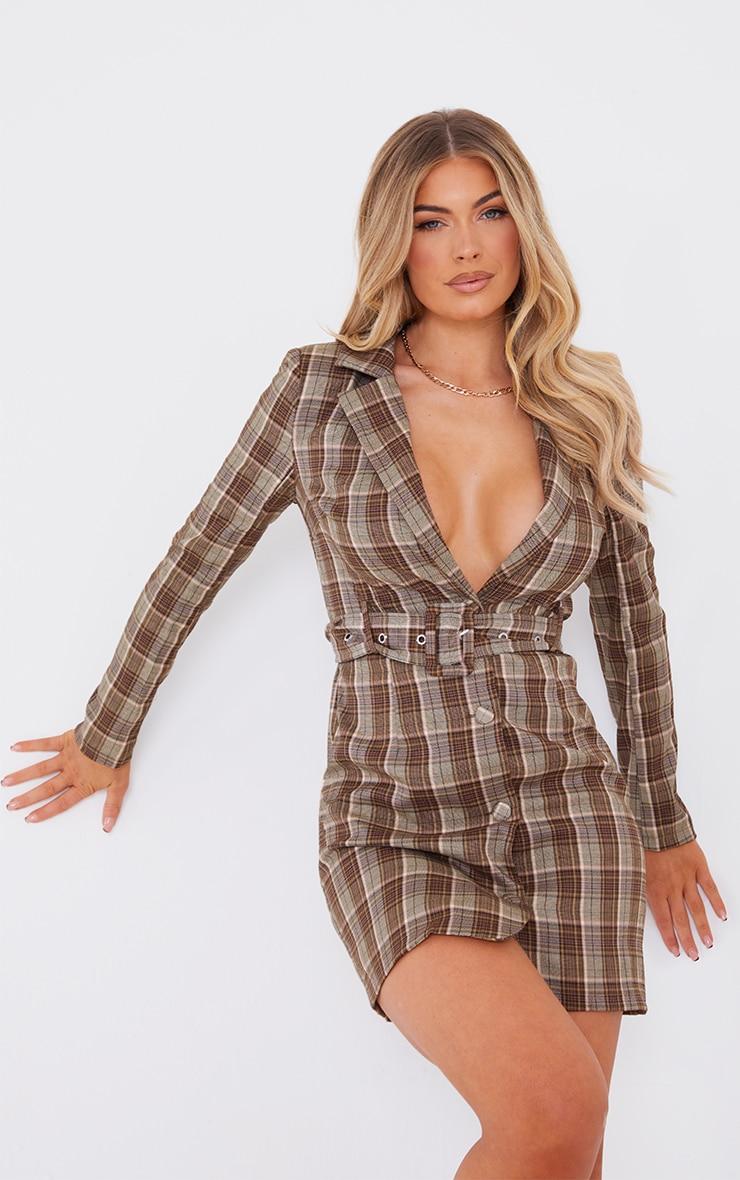 Beige Check Print Shoulder Pad Belted Shirt Dress