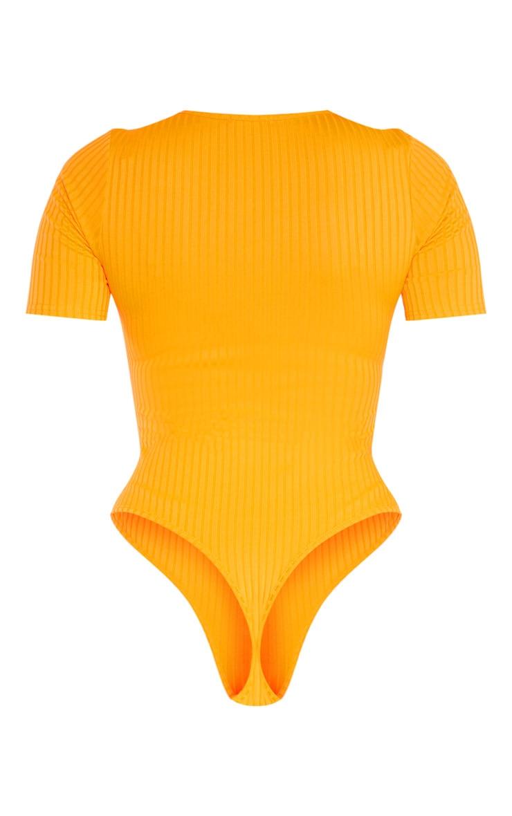Tall Neon Orange Ribbed Short Sleeve Bodysuit  4