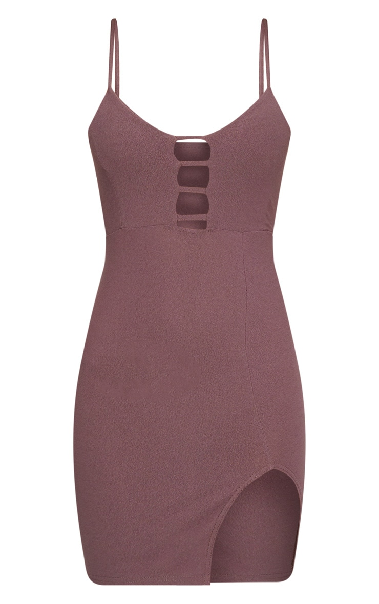 Dark Mauve Strappy Plunge Split Detail Bodycon Dress 3