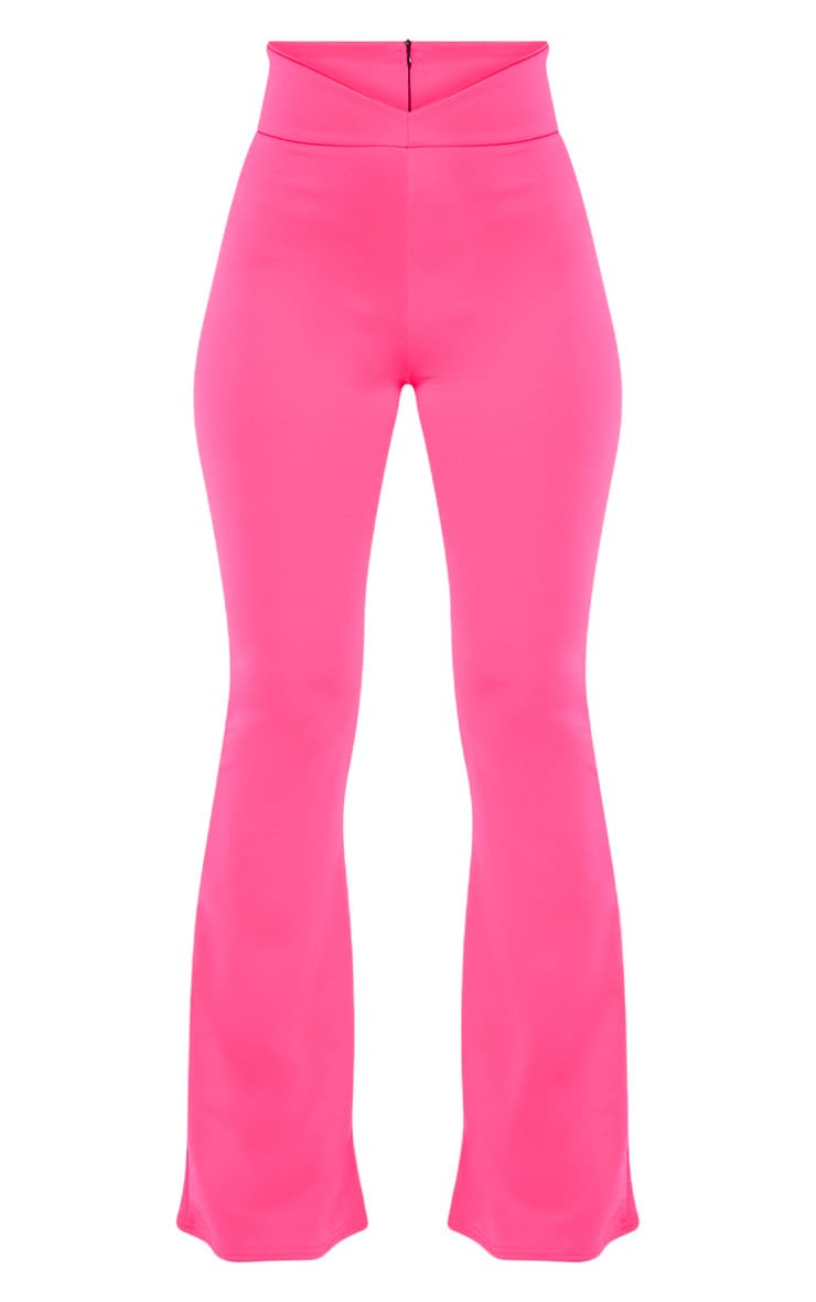 Pink Curve Waist Band Detail Flared Pants 3