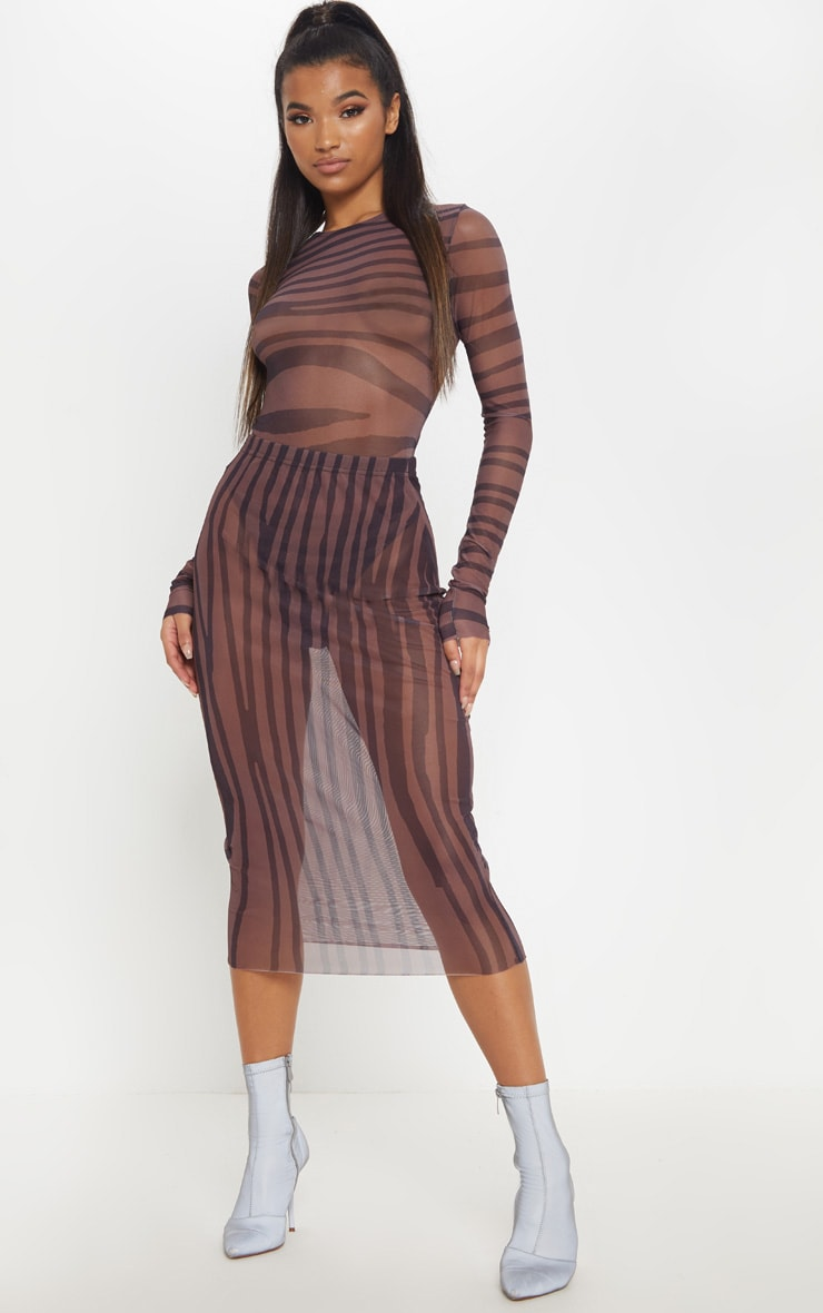 Brown Printed Mesh Long Sleeve Bodysuit 5