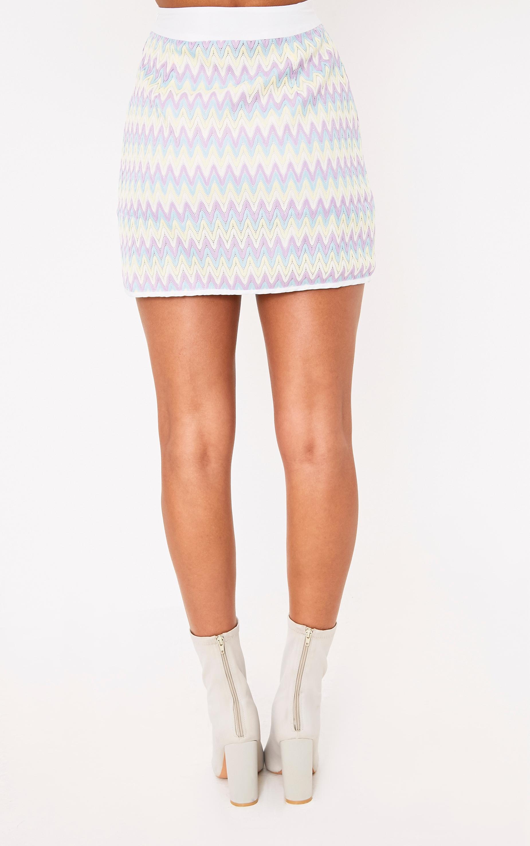 Amette Lilac Chevron Mini Skirt  4