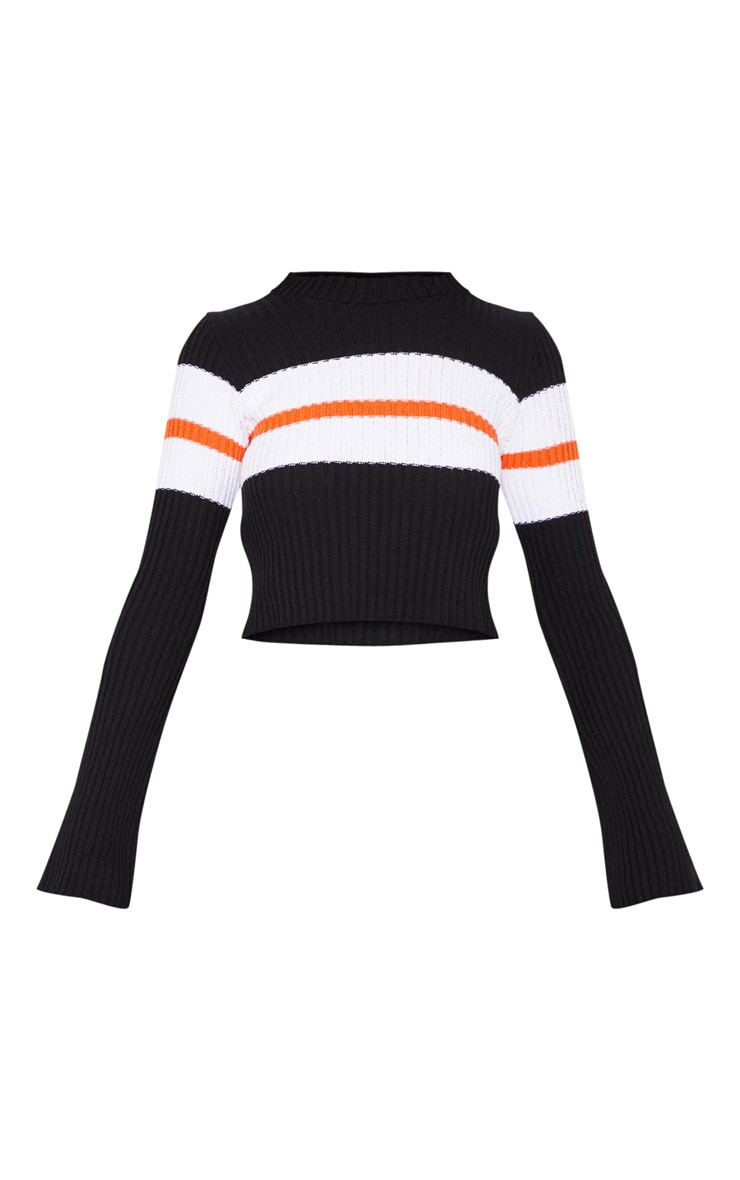 Black Striped Flared Sleeve Cropped Jumper  3