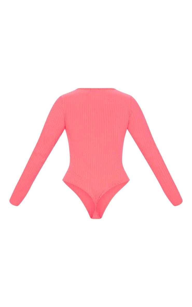 Neon Pink Rib Plunge Long Sleeve Bodysuit 4