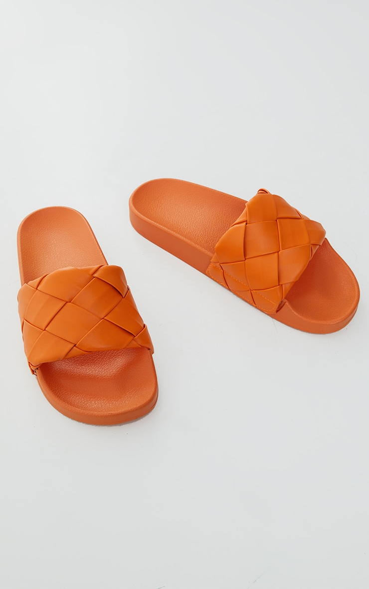 Orange Platted Woven PU Slides 4