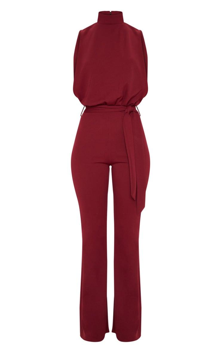 Burgundy Scuba High Neck Tie Waist Jumpsuit 3
