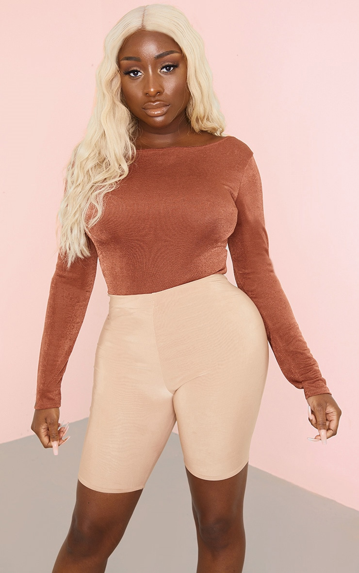 Rust Acetate Strappy Back Long Sleeve Bodysuit 2