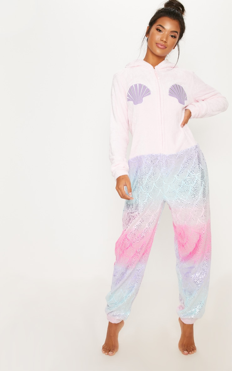 Pink Mermaid Metallic Print Onesie  4