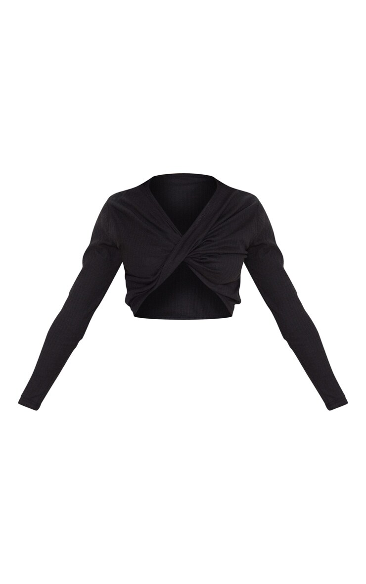 Black Structured Rib Wrap Crop Top 3