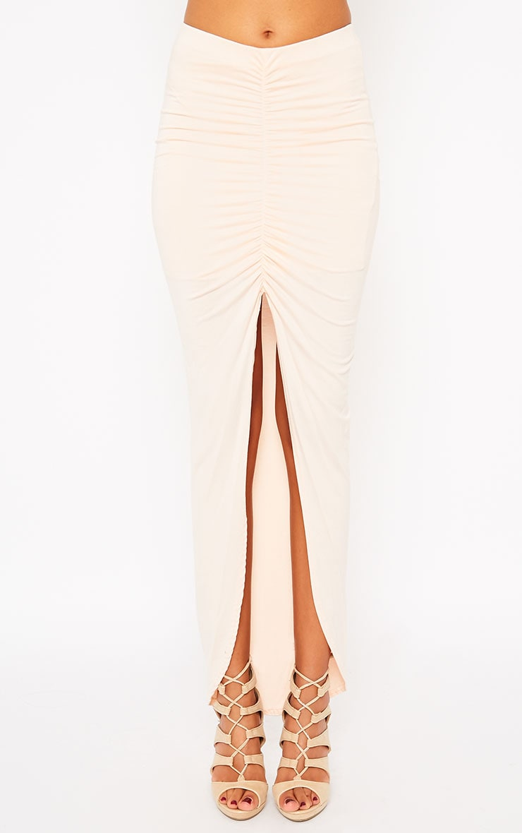 Omari Nude Ruched Front Jersey Maxi Skirt 2