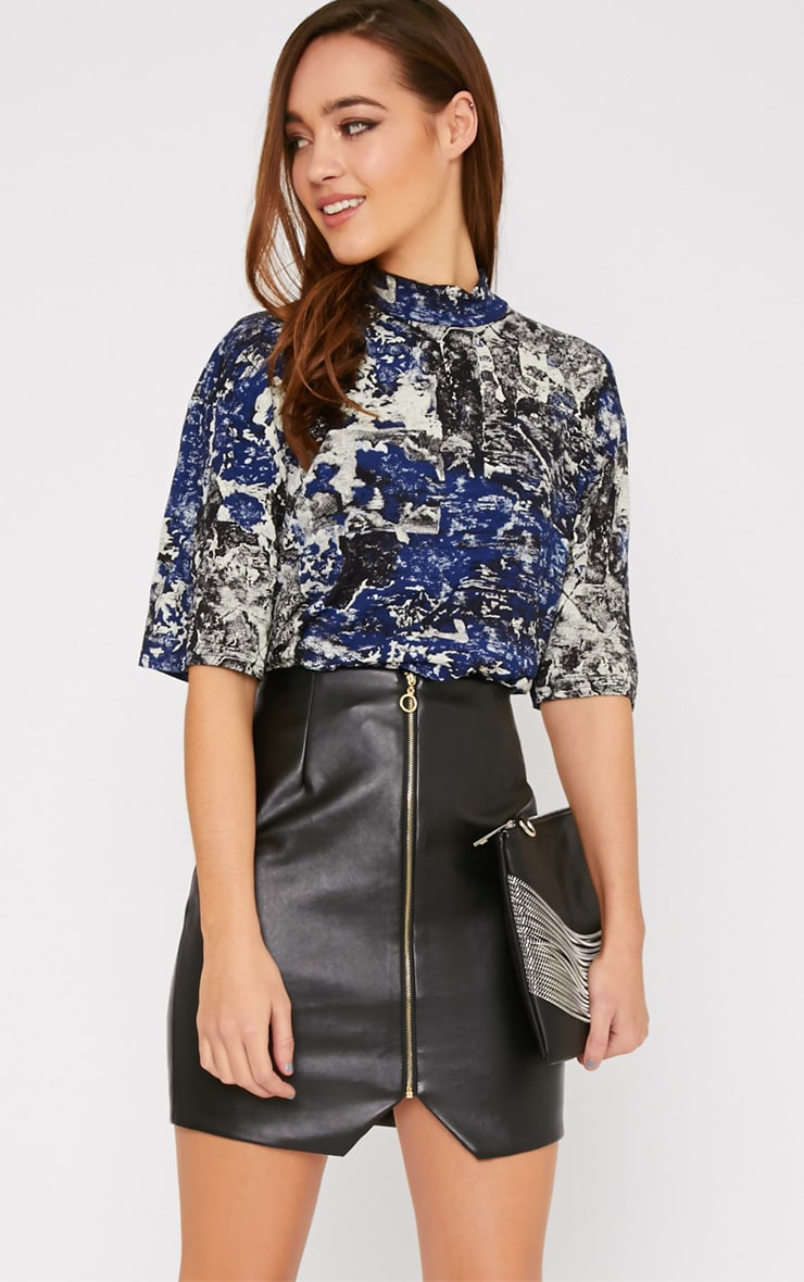 Shyla Blue Abstract Turtle Neck Crop Top  1