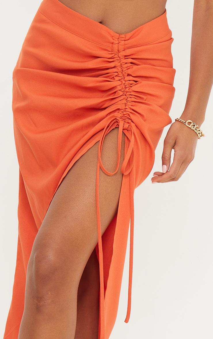 Burnt Orange Woven Ruched Detail Midi Skirt 4