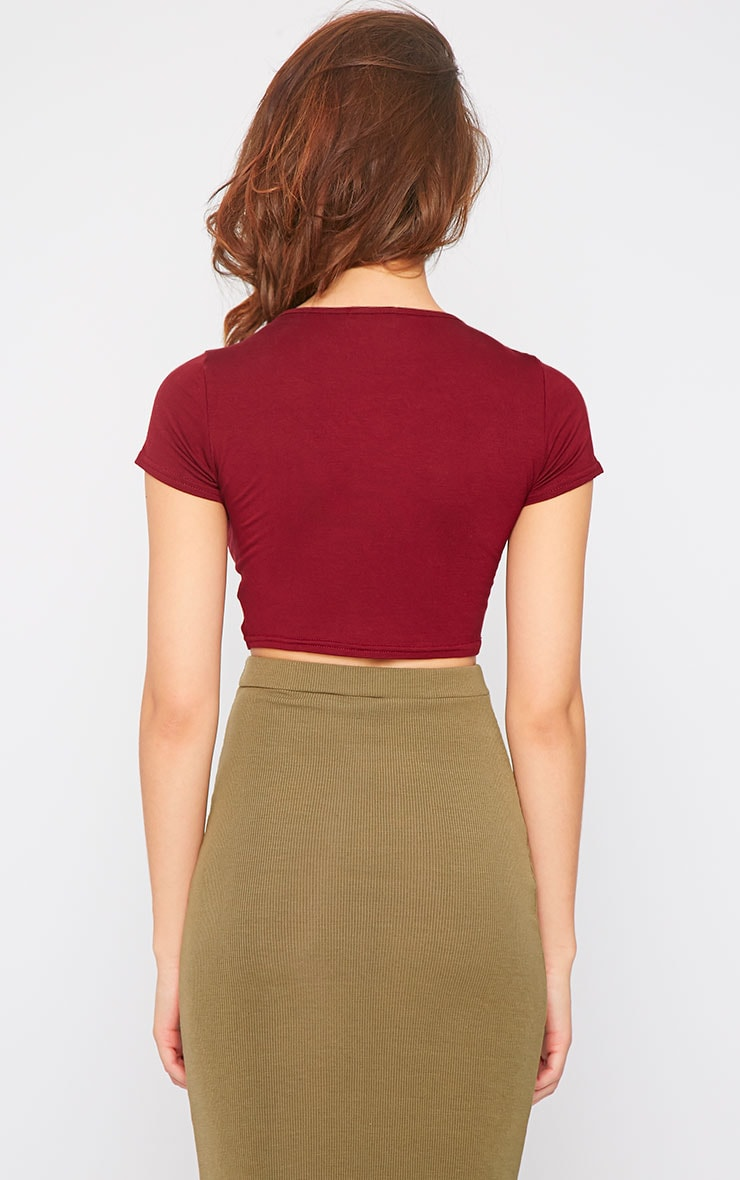 Simone Burgundy Short Sleeve Crop Top 2