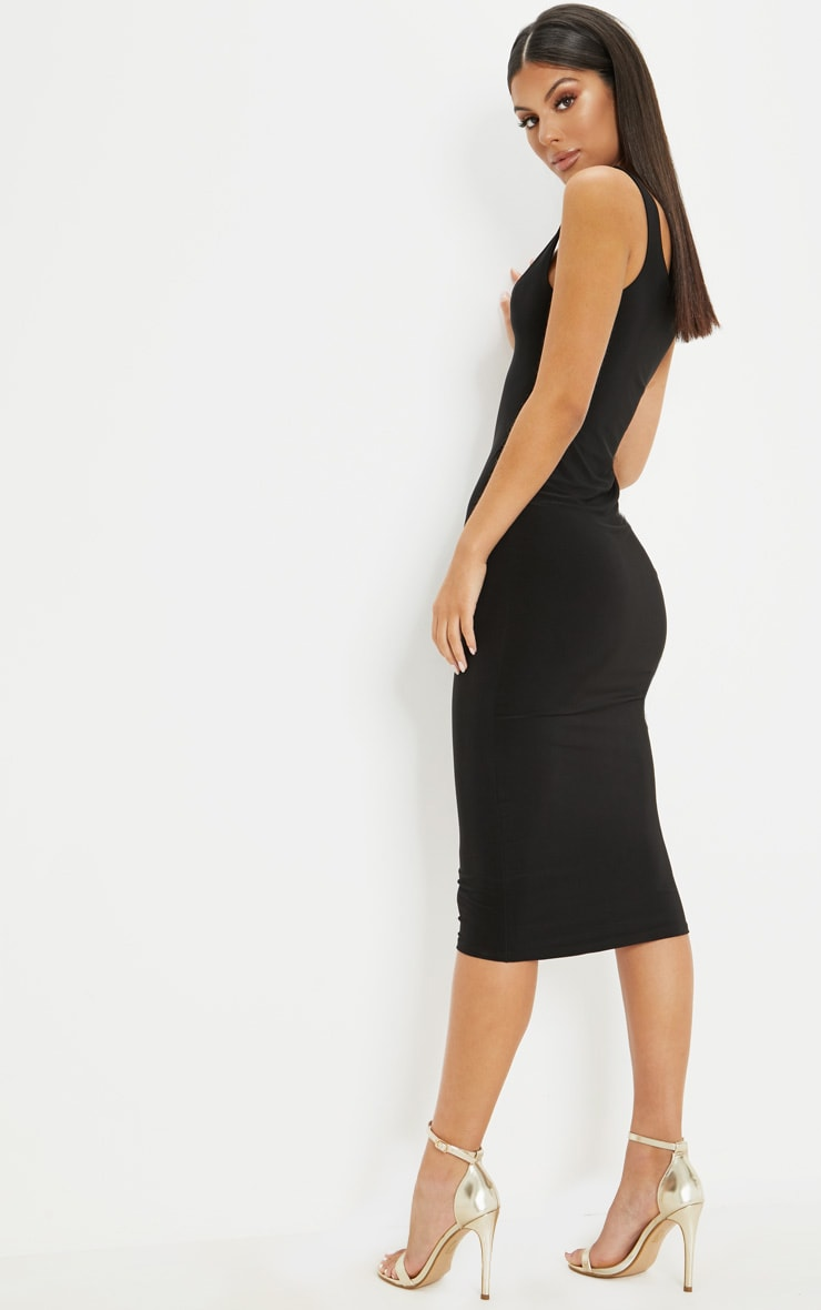 Black Slinky Strappy Midi Dress 2