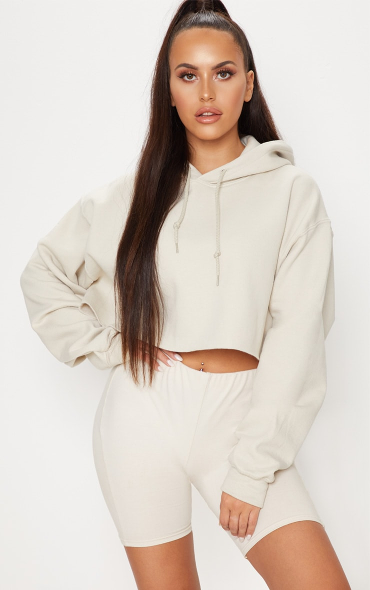 Sand Ultimate Oversized Crop Hoodie  1