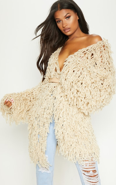 142b334b4b6 Stone Shaggy Knit Long line Cardigan