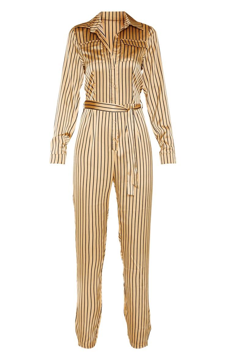 Tall Cream Stripe Square Pocket Long Sleeve Utility Jumpsuit 3