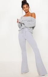 Grey Cotton Drawstring Waist Flare Pants 1