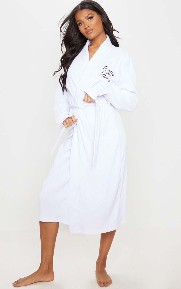 PRETTYLITTLETHING White Embroidered Long Waffle Dressing Gown 1