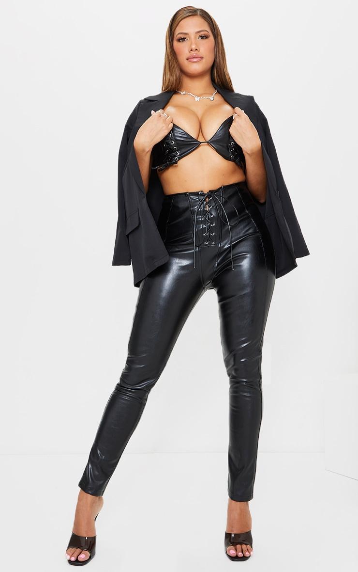 Shape Black Faux Leather Lace Up Detail Bralet 3
