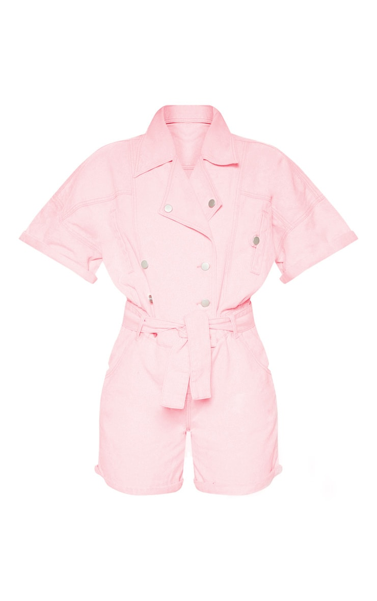 Pink Popper Detail Tie Waist Denim Romper  3