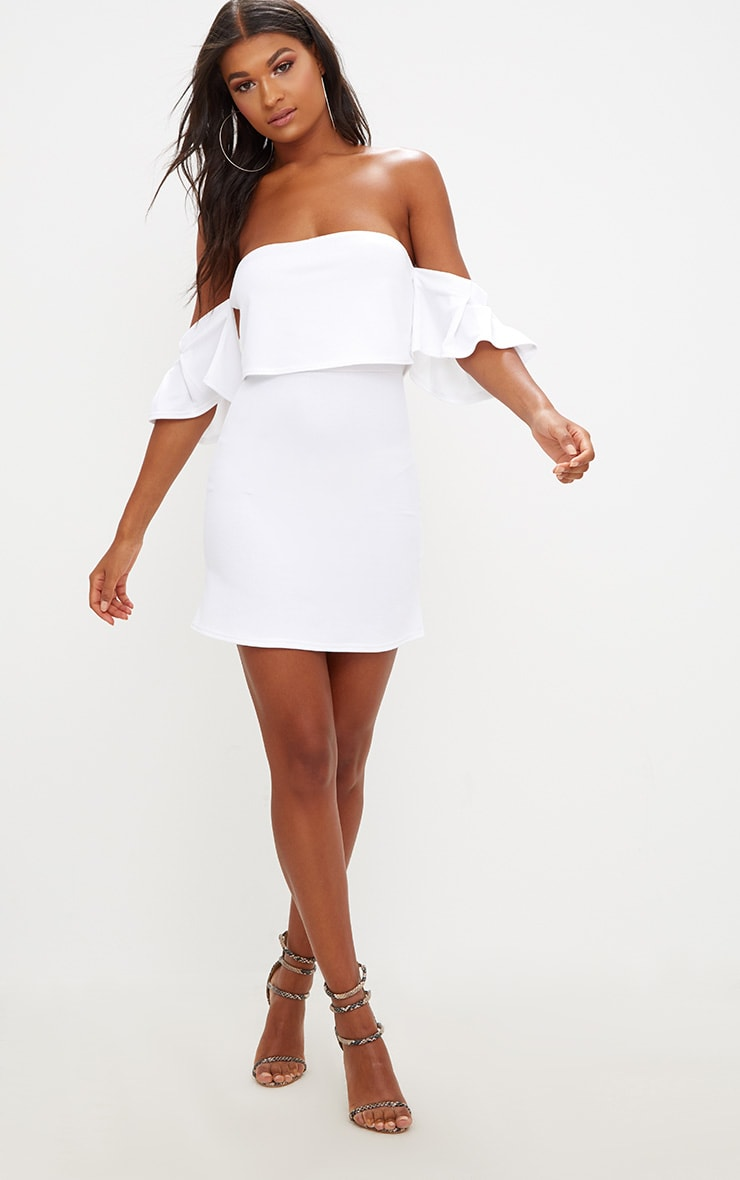 White Ruffle Sleeve Overlayer Bardot Bodycon Dress 4